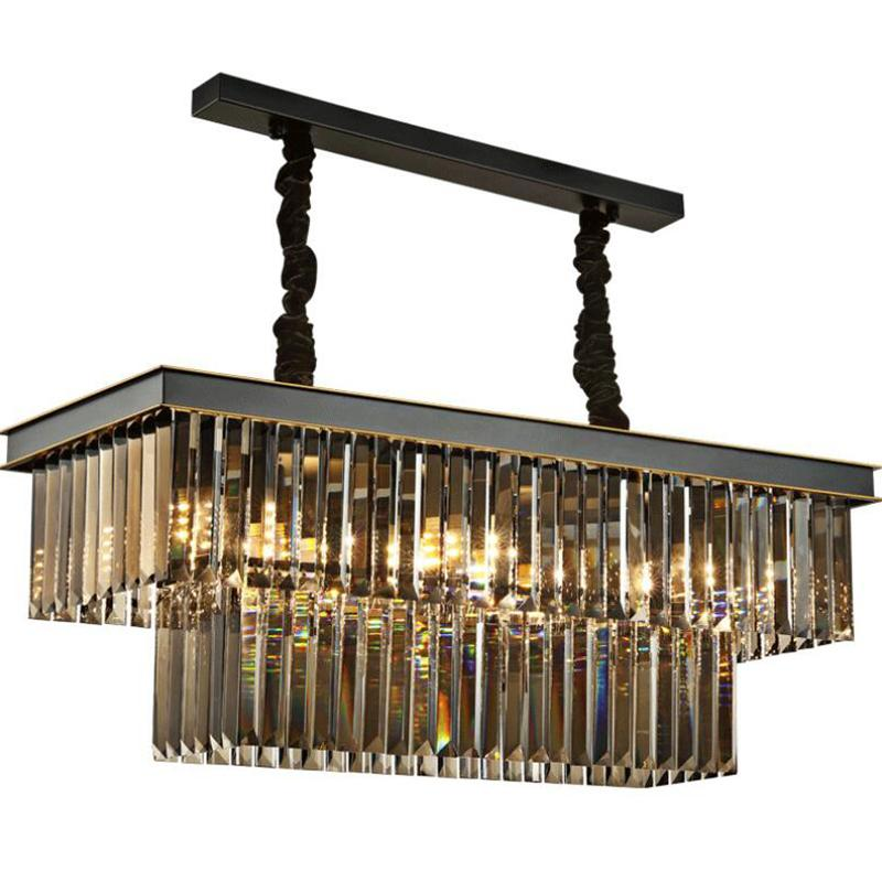 الأمريكي أنبوب الكلاسيكية والزجاج والكريستال قلادة مصباح ضوء مستطيلة بهو مربع الطعام المعيشة سقف غرفة مصباح معلق