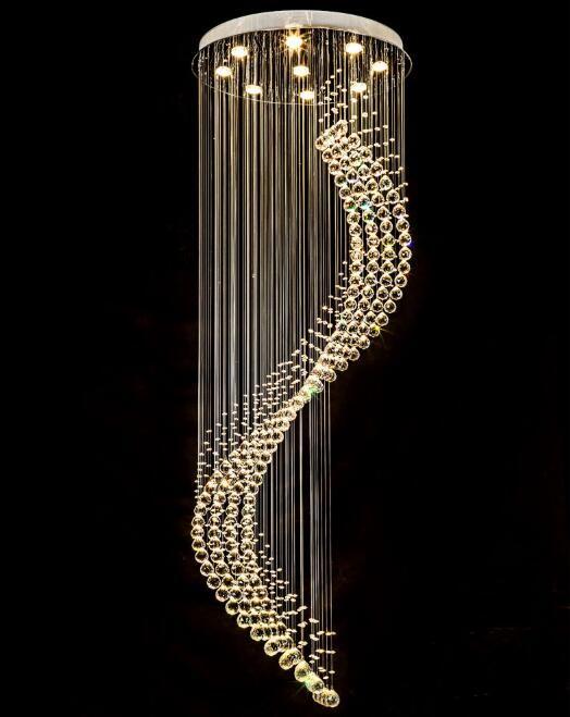 Spirale Moderne K9 Cristal Lustre Éclairage pour Escalier Duplex Plafond Suspension pour Salle À Manger Salon Chambre 110-240v