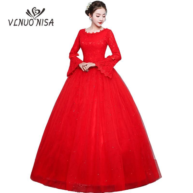 Robe De Noiva 2018 Nouvelle Robe De Mariée Rouge Vintage Flare Manche Robe De Mariée Noeud Plus La Taille Bling Bling Robe De Mariée
