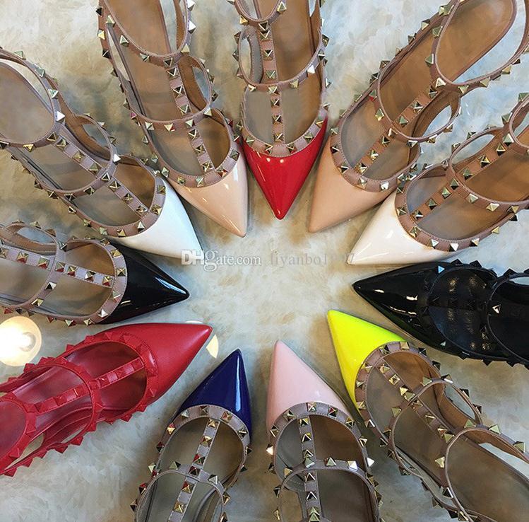 Moda Marka Ayakkabı Yüksek Kalite v -001 Stil Sandalet Kadın Perçin Yıldız Yüksek Topuklu 100% Hakiki Deri Koyun Derisi Boyutu Eur 34-43