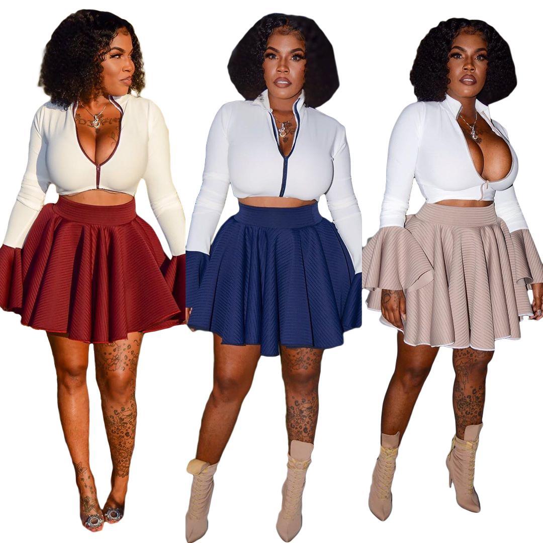 Новое прибытие 2020 Ночной клуб Wear Sexy Zipper Falbala с длинным рукавом Two Piece Set плиссированные юбки FM-S6183