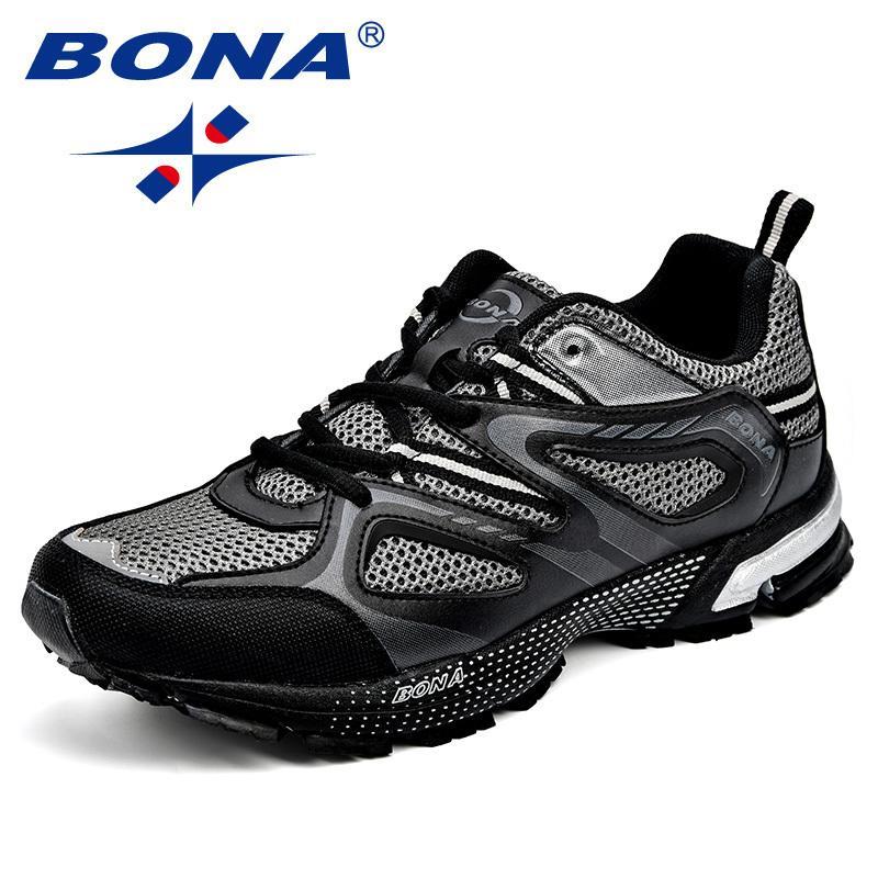 BONA nueva llegada Clásicos estilo de los hombres de los zapatos corrientes de malla partido de la vaca de los hombres zapatos de deporte al aire libre atan para arriba zapatos que activan envío