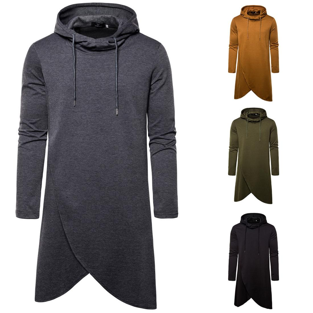 Men irregular hooded pullover sweater Men's Coat Long hooded Sleeve Solid Color Casual fashion sweater Men Tops