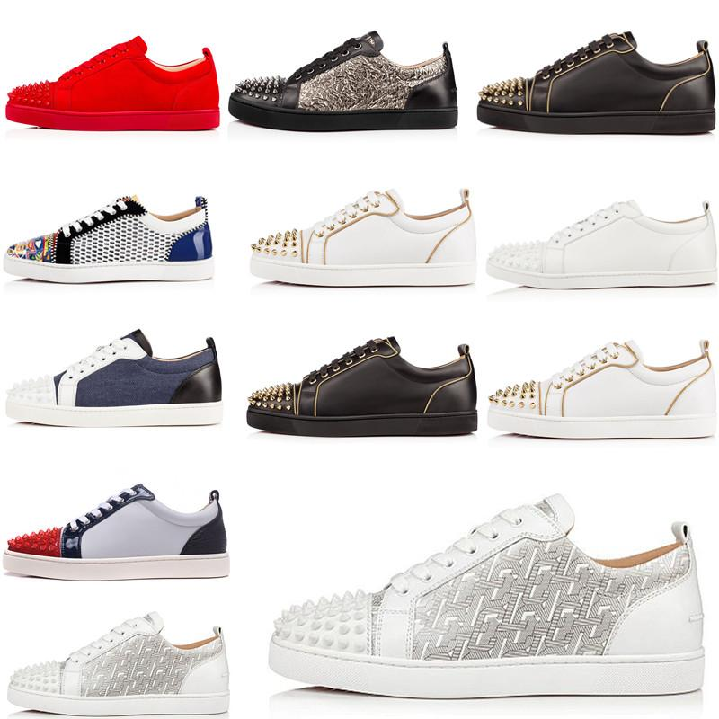 Christian Louboutin Luxe Rouge Bas junior Spikes Chaussures Hommes Casual Réglisse Orlato Flat Low Top Red Oeillet Denim cuir Mode femme sport Chaussures de sport