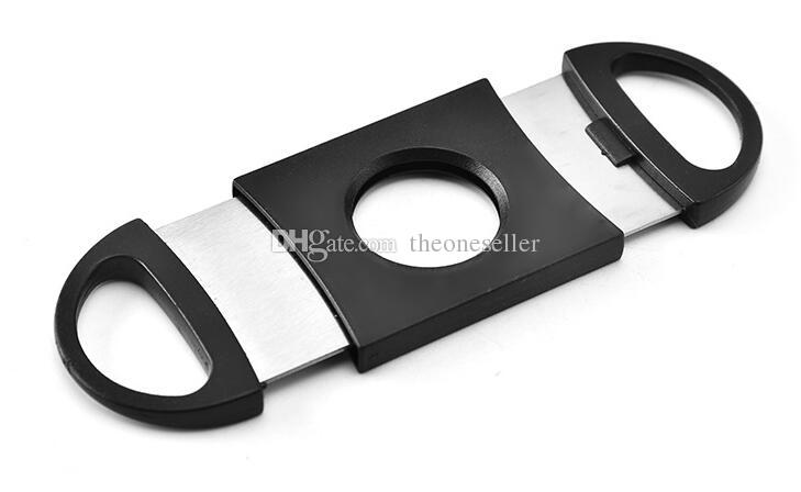 100pcs Pocket Plastic Stainless Steel Double Blades Cigar Cutter Knife Scissors Tobacco Black New Free Shipping