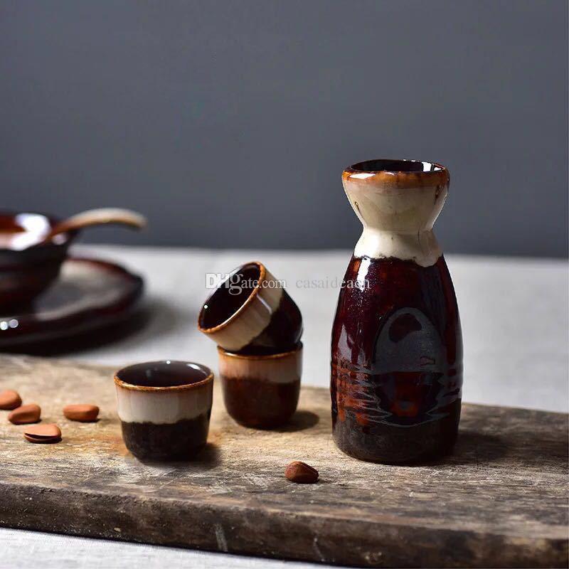 Antike japanische Sake-Set mit 1 Takuri Flasche 4 Ochoko Cups Bisque Darkred Two Tone Reactive Glaze Muster Asian Trinkgefäße Geschenk