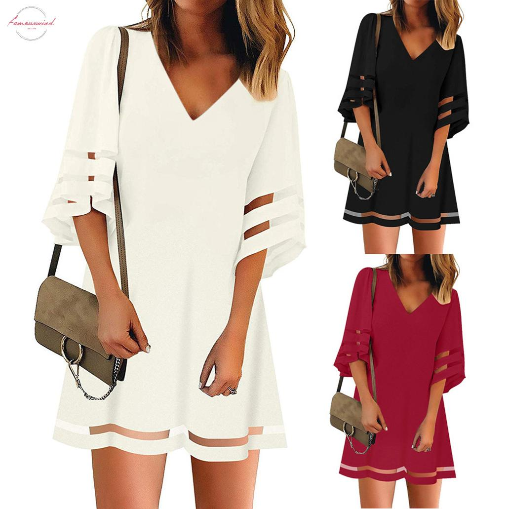 Womens V Neck Mesh Panel Blouse Three Quarter Bell Sleeve Loose Top White Black Red Kimono Sleeve Mini Dress Robe Dété