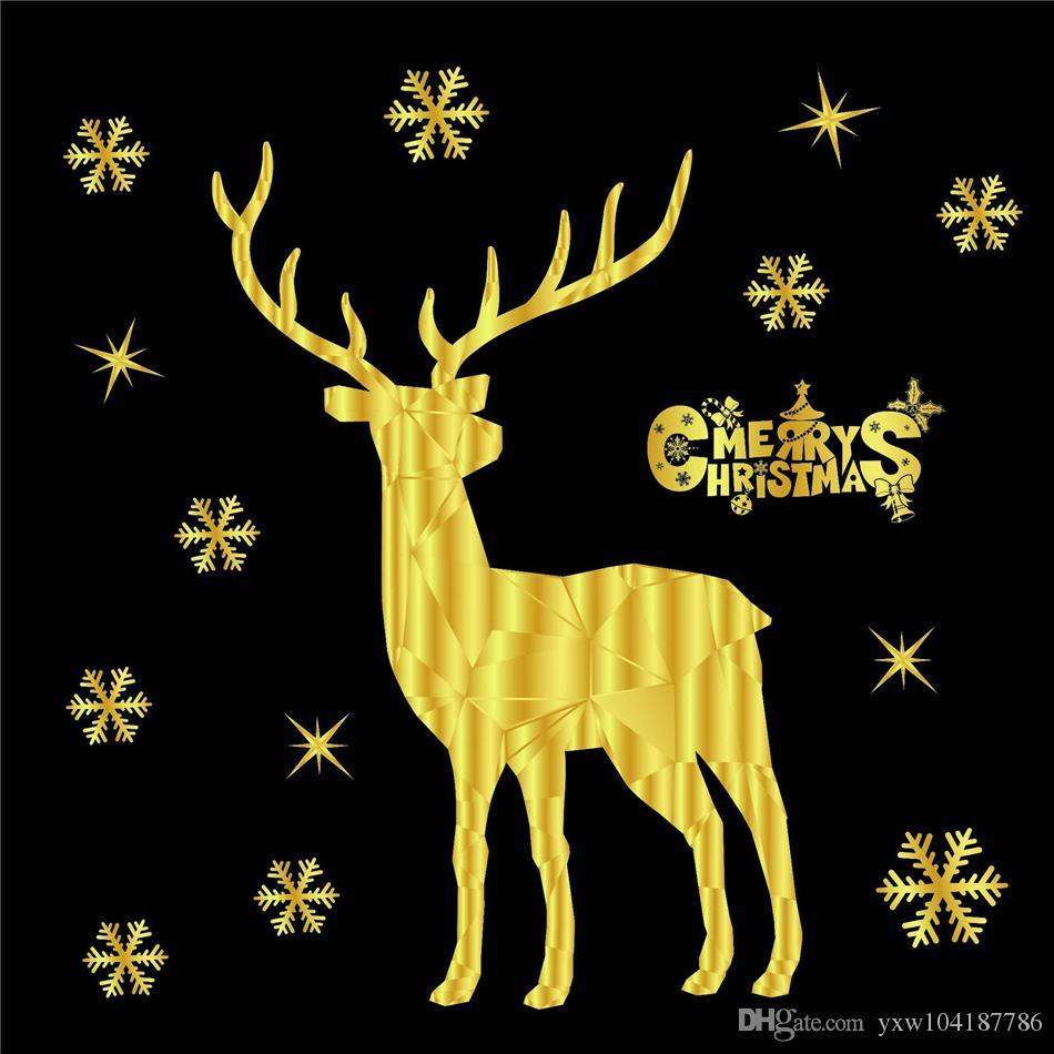 Snowflake Elk Natal Adesivos 2020 Feliz Natal Ouro Household adesivo parede Mural Decor Decal removível