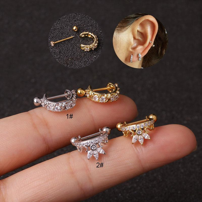 Stainless Steel Screw Earrings Micro-inlaid Ear Clips Zircon Soft Ear Bone Ring Piercing Jewelry