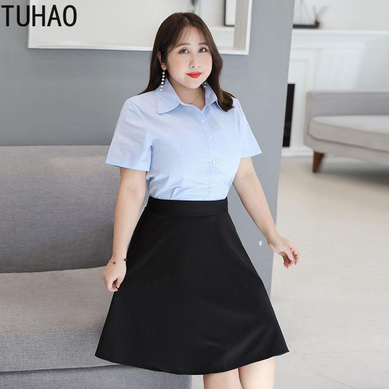 TUHAO de gran tamaño 5XL 4XL 3XL Faldas 2020 de cintura alta oscilación grande de la falda de gran tamaño Verano Negro elegante Mujeres Faldas Ropa WM08