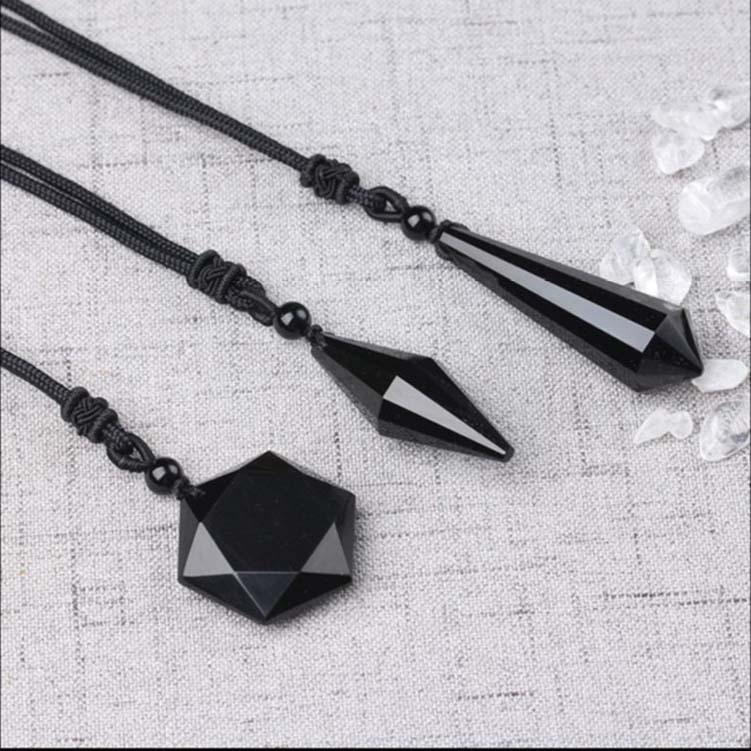 Pendant Obsidian, à six branches Energy Star Pierre Creative pendentif, collier pendentif homme et cadeau Journée de la femme Saint-Valentin