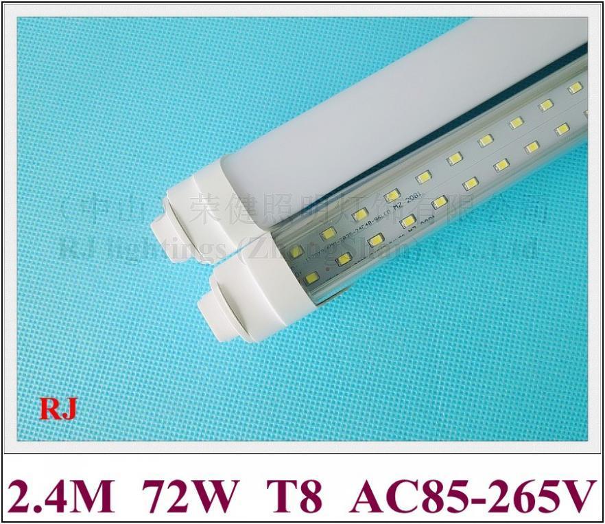 tubo R17D tappo T8 LED fluorescenti a tubo LED doppia fila 2400 millimetri SMD2835 384 led 72W ultra luminoso RJ-LTR17D-24-72U alluminio CE 2019 NEW