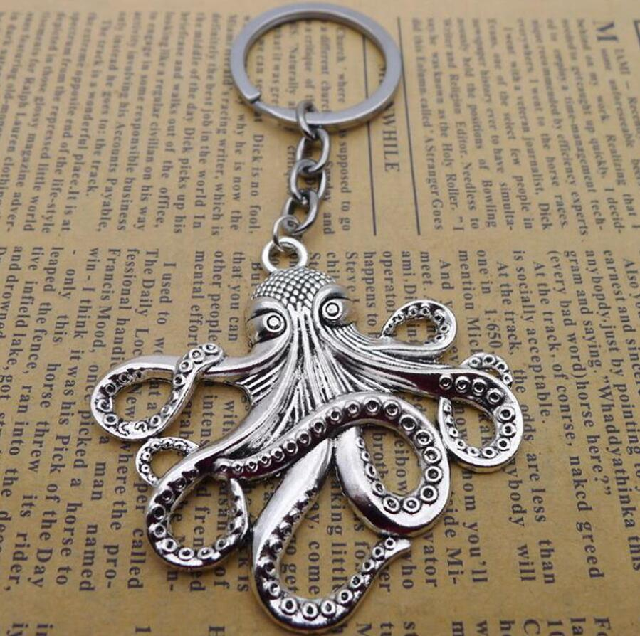 Ancient Silver/Bronze Sea Monster Keychain Big octopus/squid Charm Pendant key chain Men Women Holiday Gift Keychain