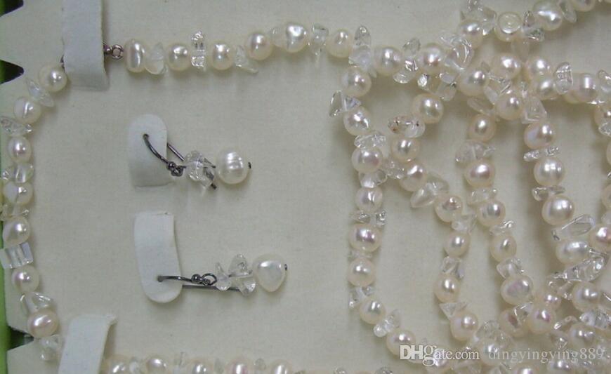 """jewelryhot vendere new - 00672 MODA Rosa 3 Strand Layered acqua dolce perla coltivata 18 """" Collana Orecchino Set"""