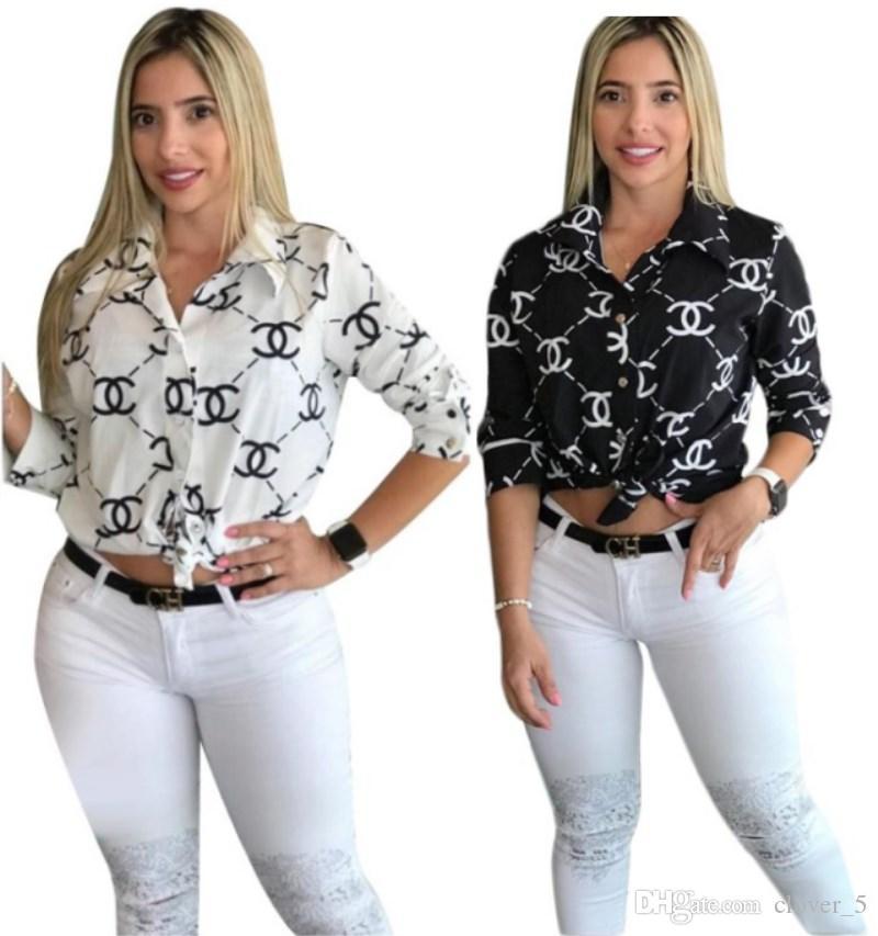 Blusas para mujer Camiseta de una pieza estampado de otoño Camisetas de manga larga famosas de alta calidad Camisa con cuello de solapa de moda para mujer ropa de mujer klw2003