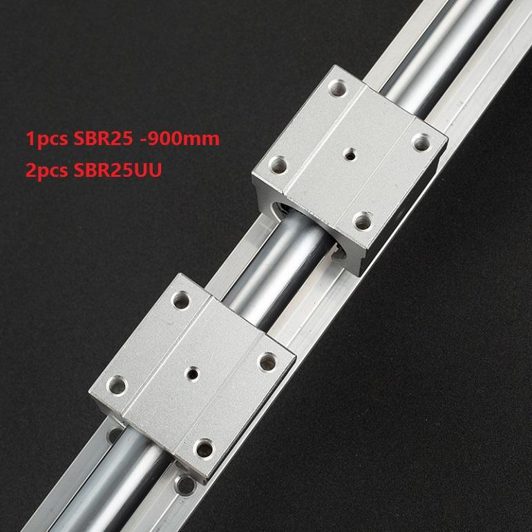 1pcs SBR25-900mm support rail linear guide + 2pcs SBR25UU linear bearing blocks for cnc router