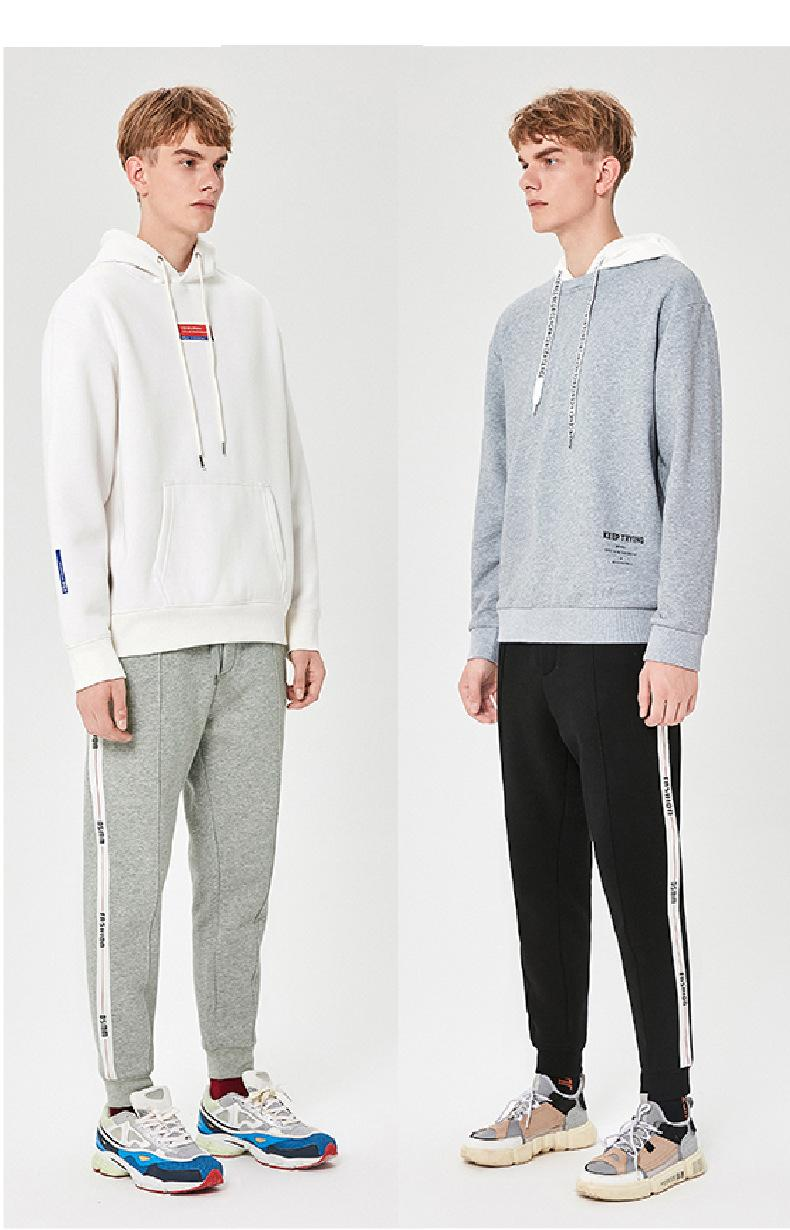 Moda Erkekler Casual Pantolon 2019 Sonbahar ve Kış Yeni Erkek Spor Pantolon Kalın yönlü Moda Spor Ayaklar Pantolon boyut S-2XL Örgü