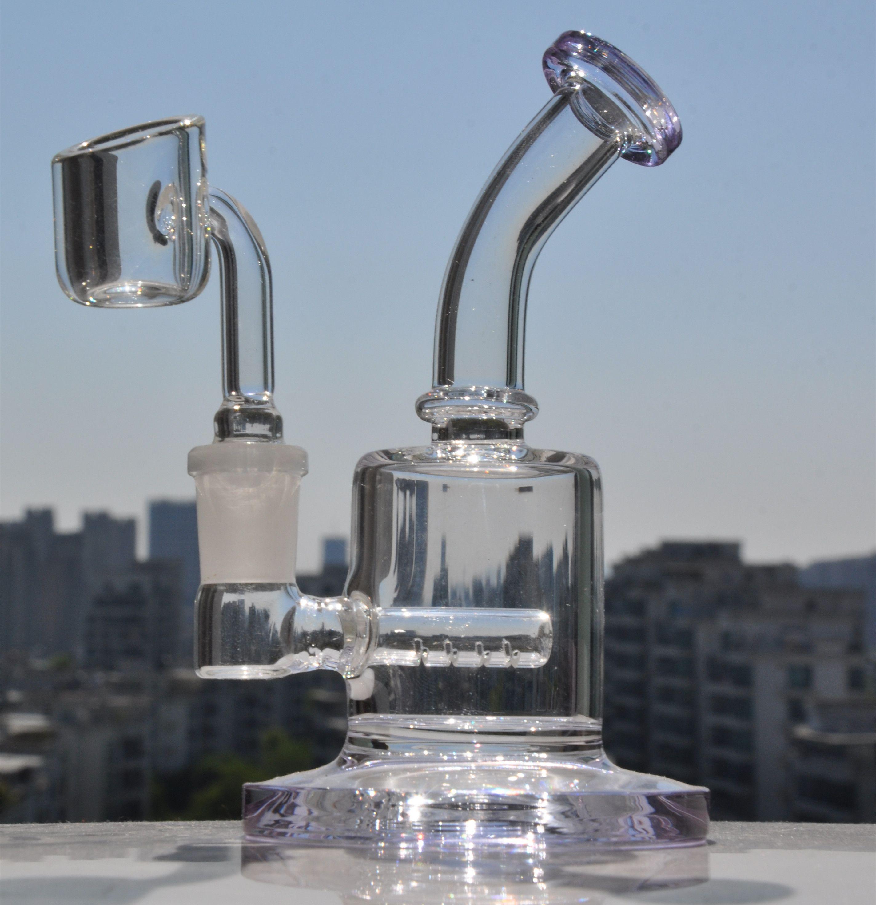 자주색 봉수 파이프 헤드 리 유리 오일 장비 DAB 유리 물 봉수 물 담뱃대 14mm Banger와 작은 봉
