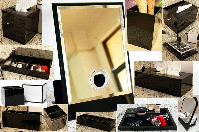 الكلاسيكية ماكياج الاكريليك حامل صندوق مرآة التجميل سطح المكتب أدوات ماكياج أحمر الشفاه مجوهرات التخزين علبة علبة مناديل للصندوق الزفاف