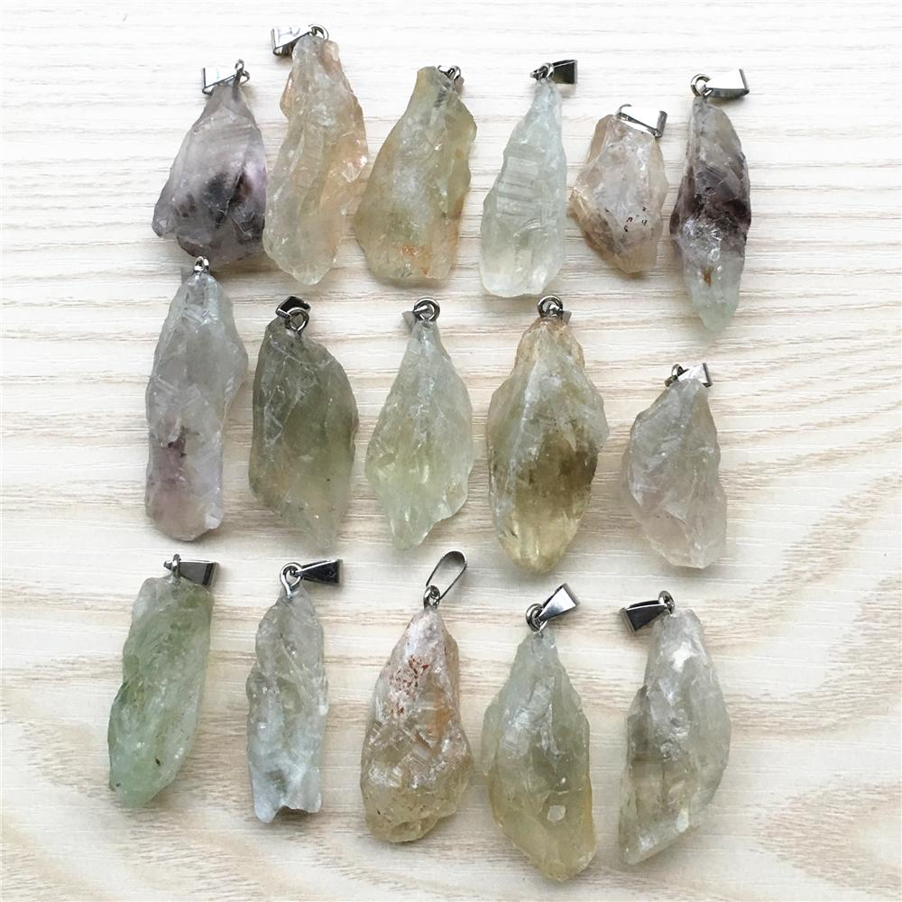 Commercio all'ingrosso di modo naturale pietra grezza ciondolo minerale collana di cristallo verde quarzo pietra pendenti 6 pz per monili che fanno all'ingrosso lotto