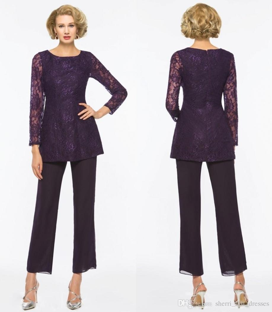 Elegant Purple Mother Of The Bride Pant Suits For Weddings Two Pieces Lace Long Sleeve Mothers Formal Wear Outfit Garment Plus Size SH363
