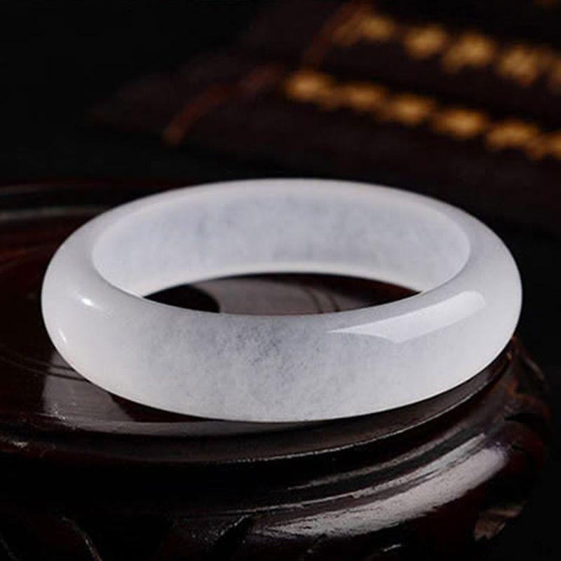 Free shipping - Natural ice kind of light white jadeite jade charm luck white jade bangle bracelet Custom Size 54mm-60mm
