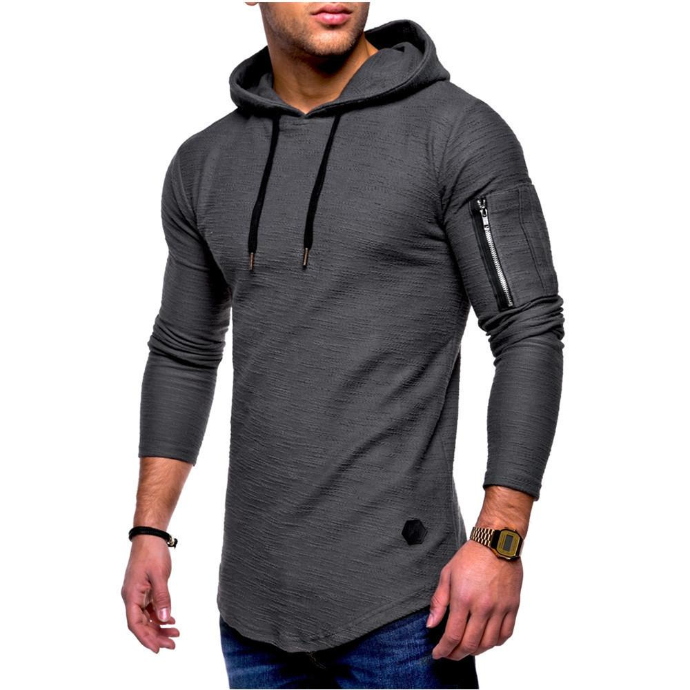 Fashion-Hooded Men Jacket Causal Coats Autumn and winter jacquard round neck hooded long-sleeved arm zipper stitching wind long sweater
