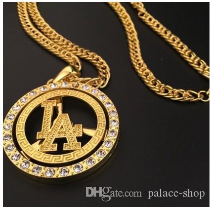 moda giallo oro pieno di uomini pendente della lettera Nekclace up-market 18b