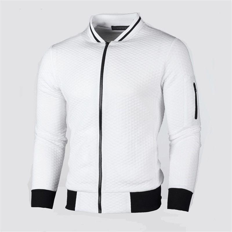 Desenhador mens zipper voar casacos ficar gola sólida xadrez magro jaqueta masculino homme moda cardigan outerwear