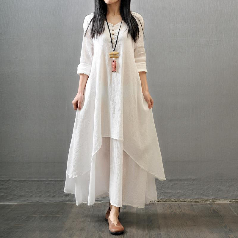 2019 고품질 가짜 두 개의 긴 치마 예술 자신감 리넨 드레스 느슨한 긴 소매 코튼 린넨 스커트