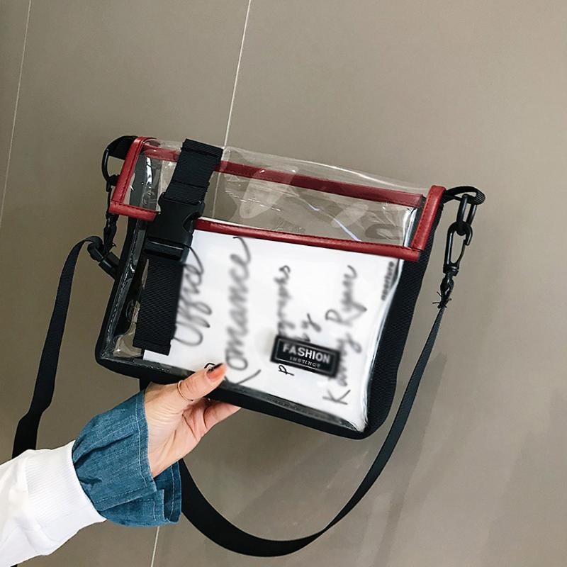 Sac à main femme transparent fourre-tout Crossbody Messenger Casual Sacs à bandoulière Pvc Mesdames téléphone Sac A Main Sac Femme # T5P