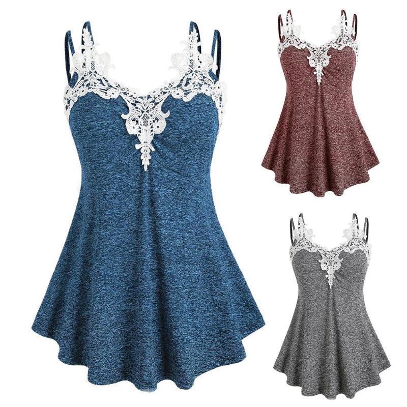 Sommer frauen sexy sling mode lässig sommer ärmelloser v-neck spitze kragen camisole top weste plus größe s-2xl jxpcg
