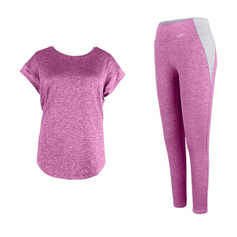 Yoga Sets Frauen Gym Kleidung Short Sleeve Sport Gamaschen Set Patchwork Sportwear Workout Compression Hosen Tops 2 Stück Anzüge