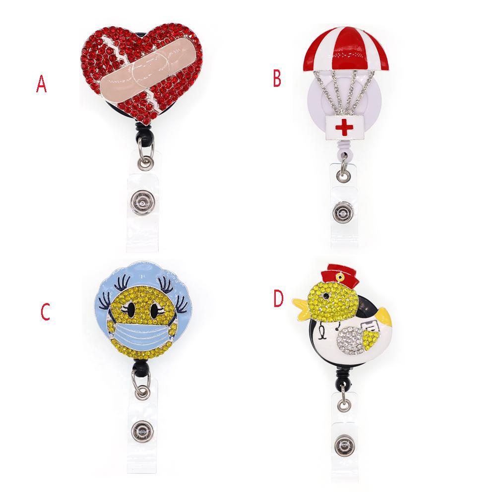 hemşire doktor hastane için 1pc / 5pcs / 10pcs Rhinestone Hayvan Ördek Ve Sıcak Hava Balonu Rozet Reel Çekilebilir Yaka Kartı Tutucu