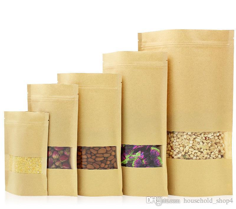 14 tamanhos Food Moisture Barrier sacos ziplock embalagem pouch vedação Brown Kraft Paper Doypack bolsa com janela transparente