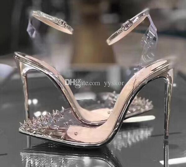 Новые Red Bottom Высокие каблуки кожа женщина насосы Кристалл Женщина на высоких каблуках Заостренный носок Rivet партии свадебное платье обувь [Оригинал Box]