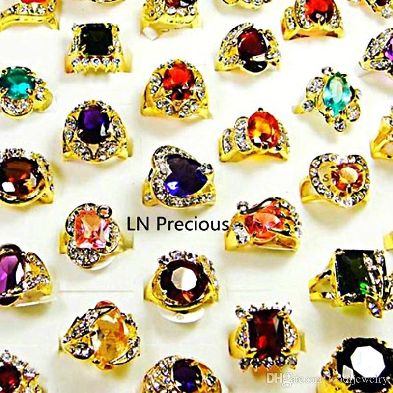 Мода Классический Rhinestone Цирконий Позолоченные кольца перста для женщин Всего Bulk серия ювелирных изделий LR078 Бесплатная доставка