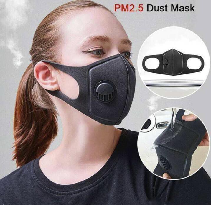 Vana Ağız Yüz Man Woman Maske Nefes ile Sünger Yüz Maskesi Filtresi PM2.5 Hava Kirliliği Karşıtı Toz ve Burun Koruma Yeniden kullanılabilir