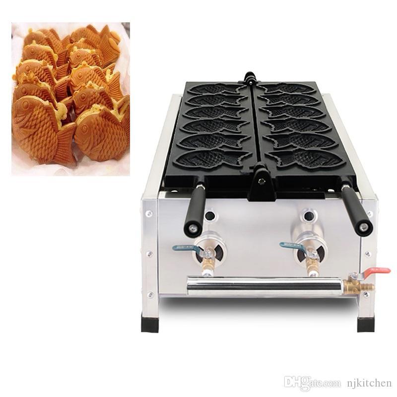 Ticari kullanım Gaz taiyaki yapımcısı 6 kalıpları yapışmaz balık şeklindeki gözleme kek ekmek makinası demir fırın ızgara plakası yapma pan ekipmanları