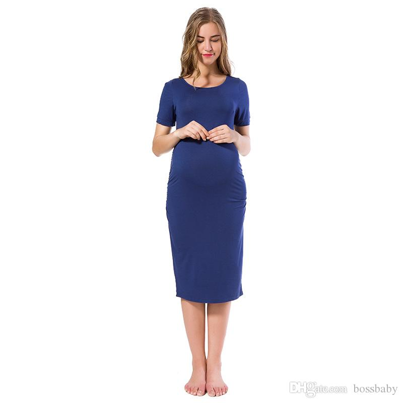 Pregnant Woman Dress Maternity Pregnant Clothes Medium Mid Skirt Frill Short Sleeve Solid Color Round Neck 28
