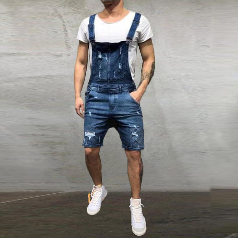 CYSINCOS New Men Denim Jeans Mens Pocket Hole Ripped Shorts Overall Jumpsuit Streetwear Overall Suspender Pants Hip Hop Trousers