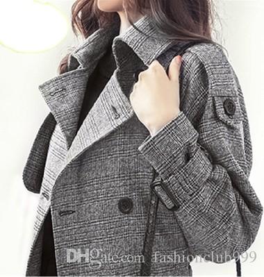 Nova Chegada Venda Quente Especial Moda Coreano Versão Feminina Longa Seção Elegante Magro Cinza Temperamento Trespassado Xadrez Trench Coat