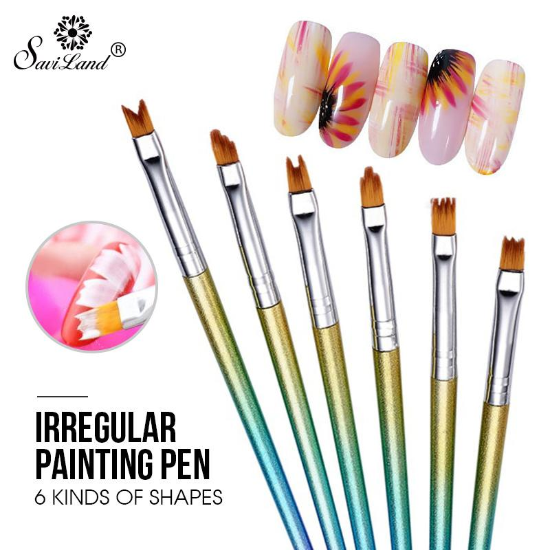 wholesale 6pcs/set Nail Art Painting Brush Drawing Pen Acrylic UV Gel Polish DIY Flower Patterns Irregular Manicure Tools