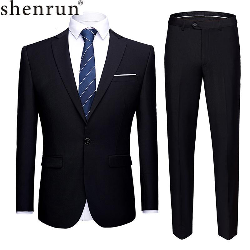 Shenrun Men Suits 2 Pieces Jacket Pants Business Uniform Office Suit Wedding Groom Tuexdo Slim Fit Single Button Casual Formal MX191118