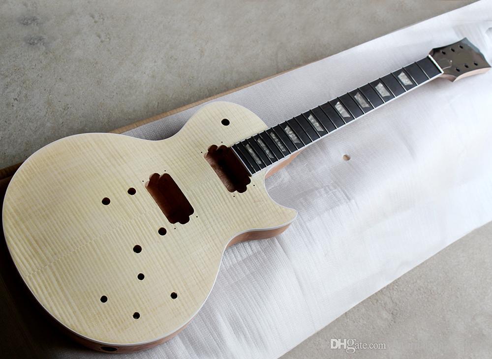 الخشب المصنع بالجملة اللون الطبيعي أنصاف الغيتار الكهربائي مع روزوود وحة الفريتس، لهب القيقب القشرة، يمكن تخصيص