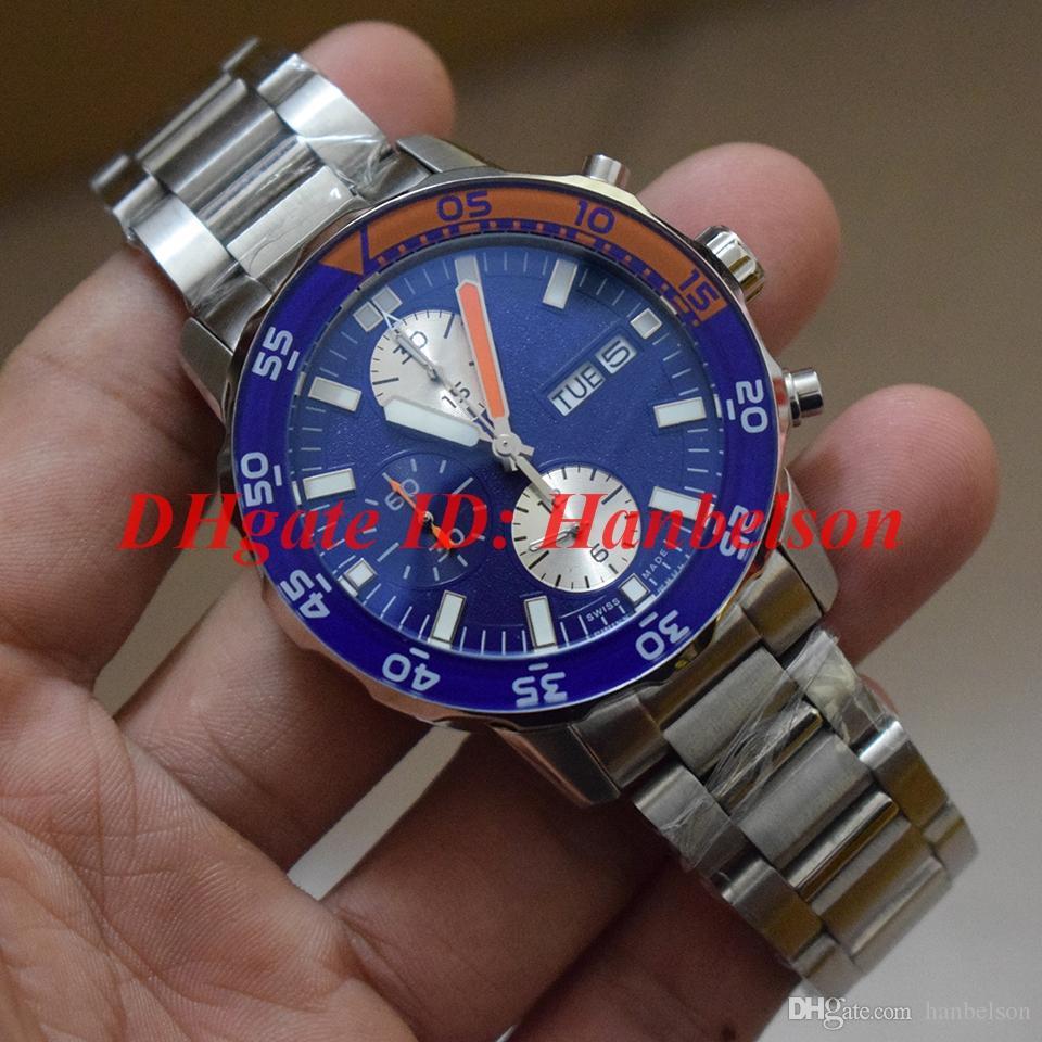 YENI Erkekler İzle Paslanmaz çelik kayış Mavi çerçeve Japonya kuvars hareketi Chronograph Küçük aramalar çalışacak İşlevli kronometre I 376708 W