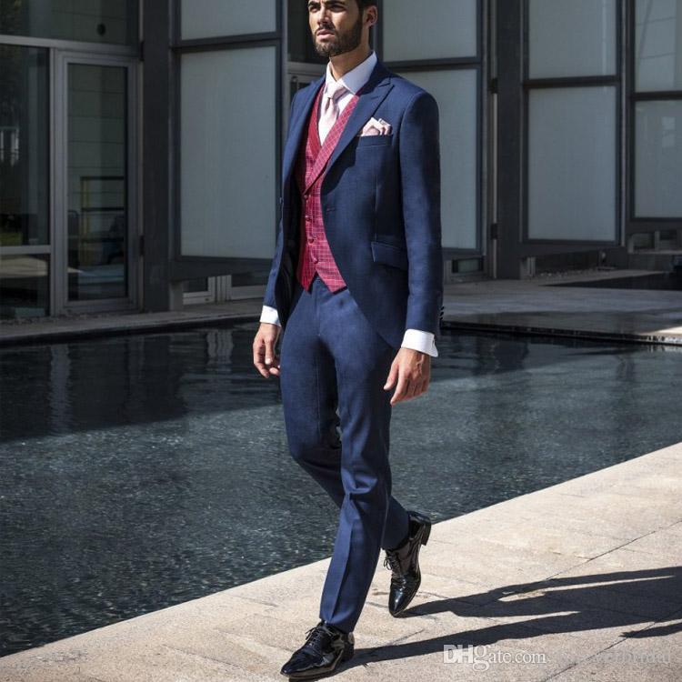 2019 синие мужские костюмы жениха свадебные смокинги 2 шт. (Куртка + брюки) формальный выпускной жених на заказ пиджак