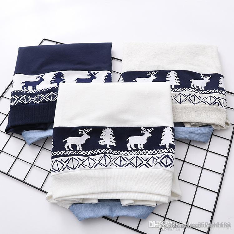 Alces impressos Falso duas peças estilo japão mulheres hoodies 2018 primavera outono nova moda camisolas de algodão doce topos