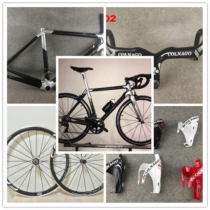 Sliver Colnago C64 Route cadre carbone porte-bidons guidon de vélo COLNAGO COLNAGO ffwd roues 38mm carbone d'alliage