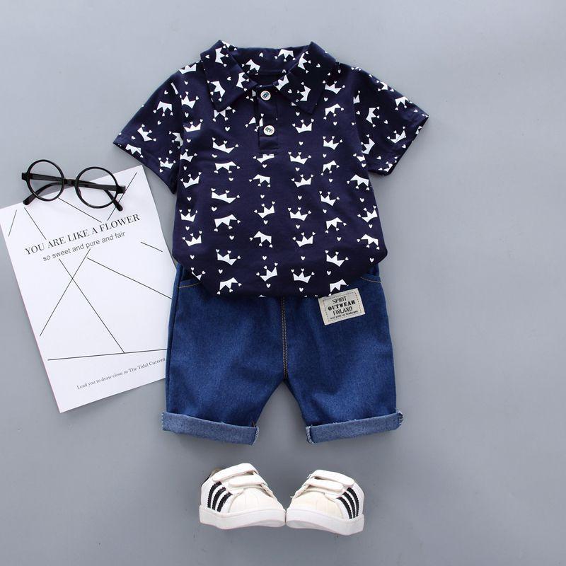 Summer Baby Boy Одежда Цветочные печати с коротким рукавом рубашки блузка Шорты повседневные Нижнее Одежда